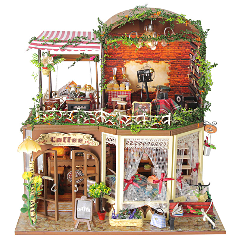 Time travel DIY Doll house 3D Miniature Wooden assembled+Music box+Voice-activated light Handmade kits Building model Caravan