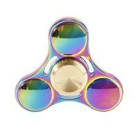 Rainbow EDC Fidget Metal Tri Hand Spinner ADHD Autism Focus Finger Desk Toy Gyro Tri Hand