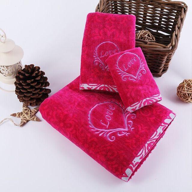 JZGH 3PCS Valentines Luxury Cotton Terry Bath Towels Sets For AdultsDesigner Bathroom