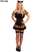 Sexy Waist Training Corsets Women Burlesque Dance Costume Showgirl Costume Leopard Corset Outfit S 2XL