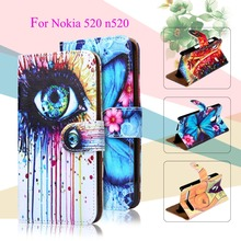 Luxury Painted PU Leather Cases For Nokia Lumia 520 N520 525 526 4.0 inch Cover Card Holders Phone Bags Wallet Flip Holster