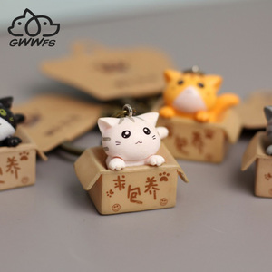 Cat And Box Cute Cat Couple Keychain Cat Car Key Chain Ladies Bag Pendant Small Jewelry Animal Key Ring Dating/Anniversar/Gift(China)