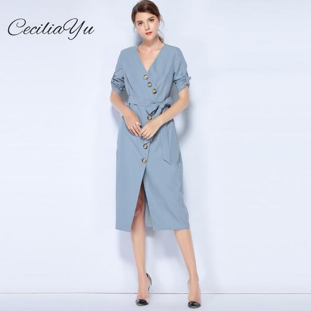 Ceciliayu 2018 Autumn New Style  Women's Dress Europe And The United States V Collar Seven Split Sleeve Dress Womens Casual Wear