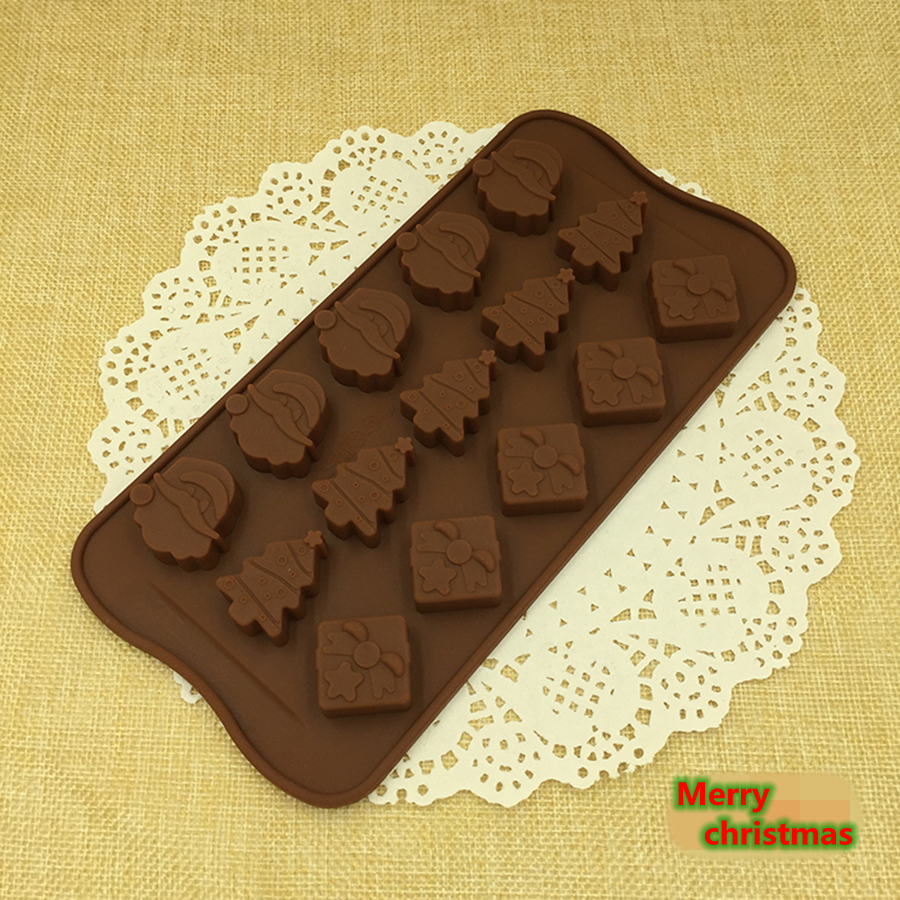 GZZT Christmas Gifts Silicone Chocolate Molds Moulds 15pcs Santa Claus tree Decoration DIY Baking Tools
