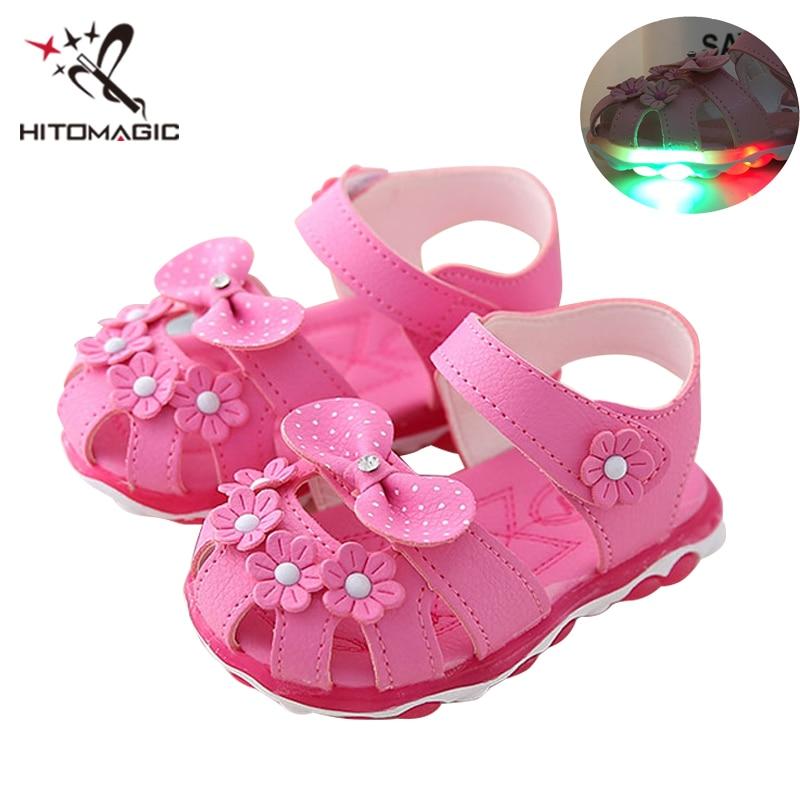 new products a9a97 e7b58 US $11.71 |HITOMAGIC Neue Sommer Led Licht Schuhe Kinder Sandalen Mädchen  Blumen Haken & Loop Beleuchtete Kinder Baby Leucht Schuh Glowing Schuhe-in  ...