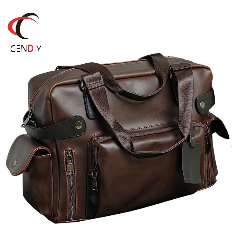 Fashion Handbag Crazy Horse Leather Men Briefcase Brand Luxury Men Messenger Bag For Men Travel Bag Male Business Shoulder Bags
