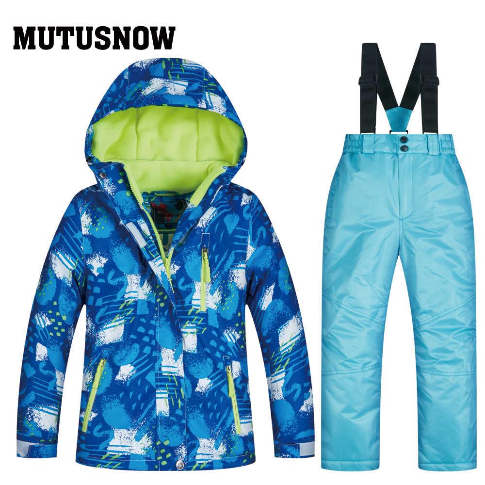 Yeni erkek ya da kız çocuk kar takım elbise snowboard setleri su geçirmez açık spor giyim kayak ceket ve kayış kar pantolonu çocuklar kostüm