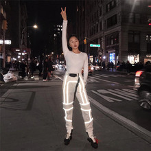 Night Glowing 3M Full Flash Shinny Reflective Pants Women Casual Harem Sweatpants Baggy Trousers with Belt