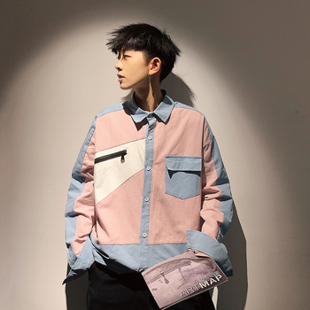 blouse men long sleeve color block Streetwear Patchwork korean loose shirt men Japanese vintage fashion trend camisa masculina