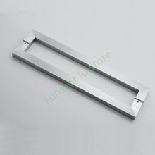 Modern, brushed Stainless steel,Square tubular glass door handle, bathroom wooden doors home hardware