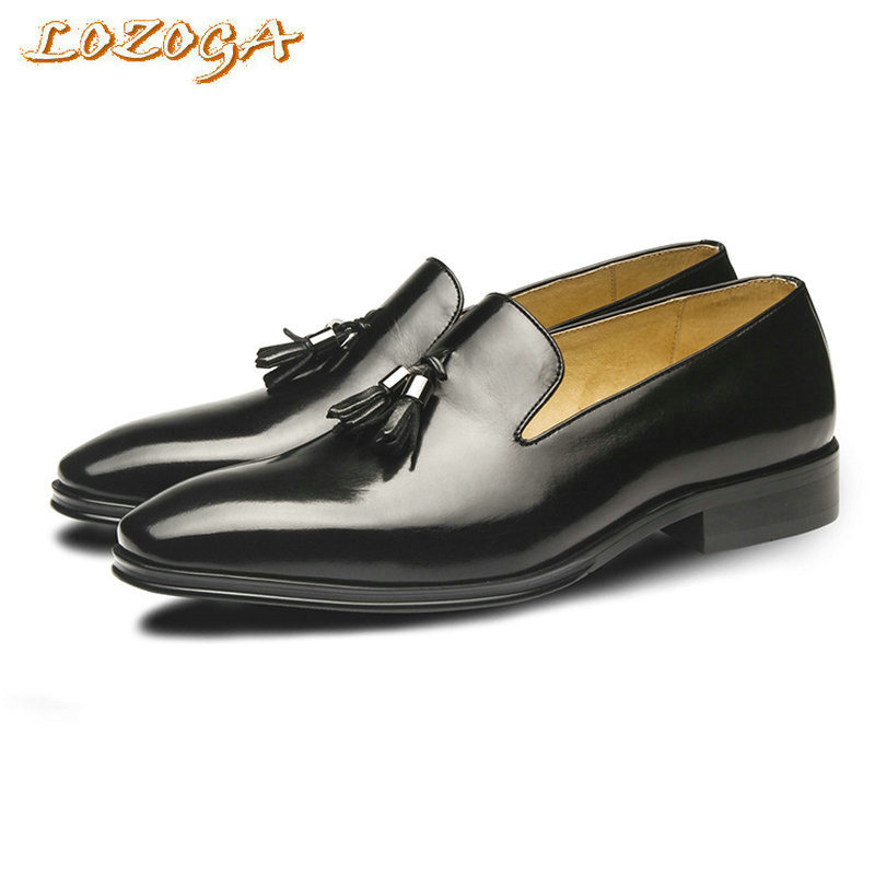 2017 Men Business Shoes Genuine Leather Men Flat Luxury Designer Tassel Shoes Handmade High Quality Pointed Toe Fashion Loafers high quality men shoes crocodile genuine leather flat shoes business luxury wedding mens leather loafers oxford zapatos hombr