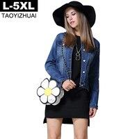 Artı Boyutu Kadınlar Için 2017 Sonbahar Uzun Kollu Kısa Jeans Denim Ceket ceketler İnce Boy Denim Ceket Mavi L XL XXL 3XL 4XL 5XL