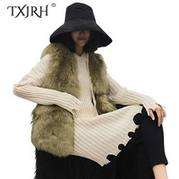 TXJRH Stylish Long Hairy Shaggy Faux Fox Fur Irregular Hem Vest Slim Waist V Neck Faux Fur Sleeveless Coat Outerwear Top 2 Color