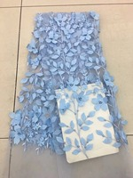 Beautiful 3D leaves design 2018 French Net Embroidery beads Tulle Lace Fabric For Nigerian party dpm102