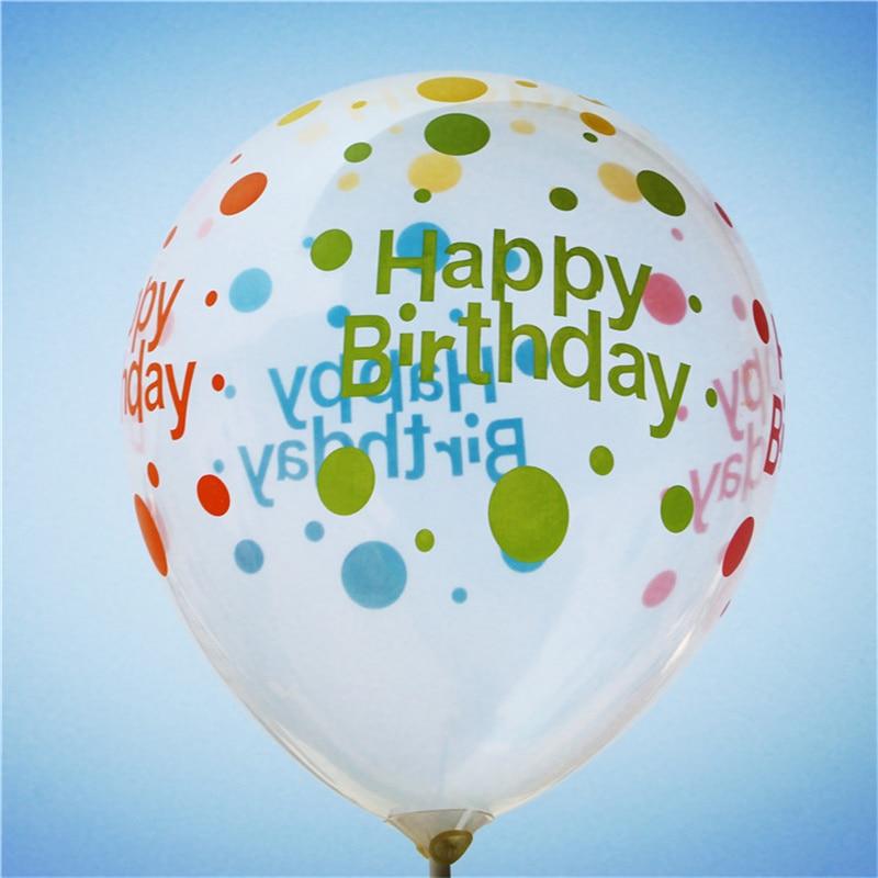 100 Stucke 12 Zoll Dick 28g Transparent Gedruckt Happy Birthday Balloons Aufblasbaren Ball Kinder Geburtstagsparty Dekoration Lieferungen