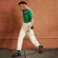 ELF SACK Autumn Solid Women Straight Vintage Pants 100% Cotton High Quailty All-Match Basic Women Casual Ankle Length Pants