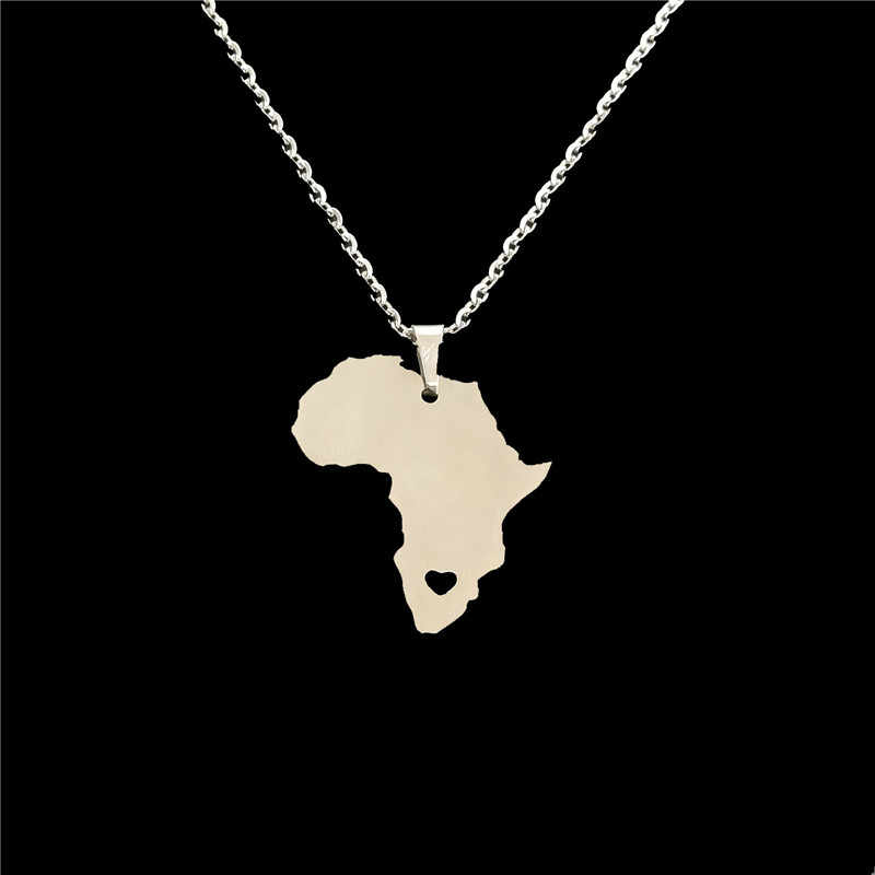 drop shipping fashion Stainless Steel necklace Africa Map pendant Necklace African statement Jewelery personality gift