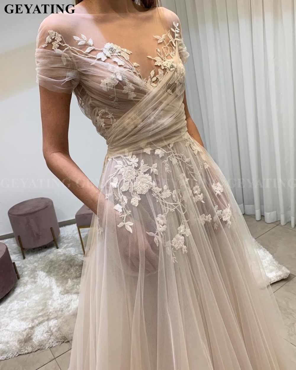 Vintage Sheer Lace Floral Boho Wedding Dress With Sleeve Pockets A