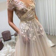 Vintage encaje transparente Floral Bohemia boda Vestido con bolsillos de manga A-line Hippie vestidos de novia verano playa boda vestidos país