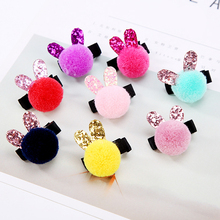 2017 Small Cute Colorful Hair Ball Rabbit Ears Girls Kids Hair Clips Lovely Princess Barrette Hairpin