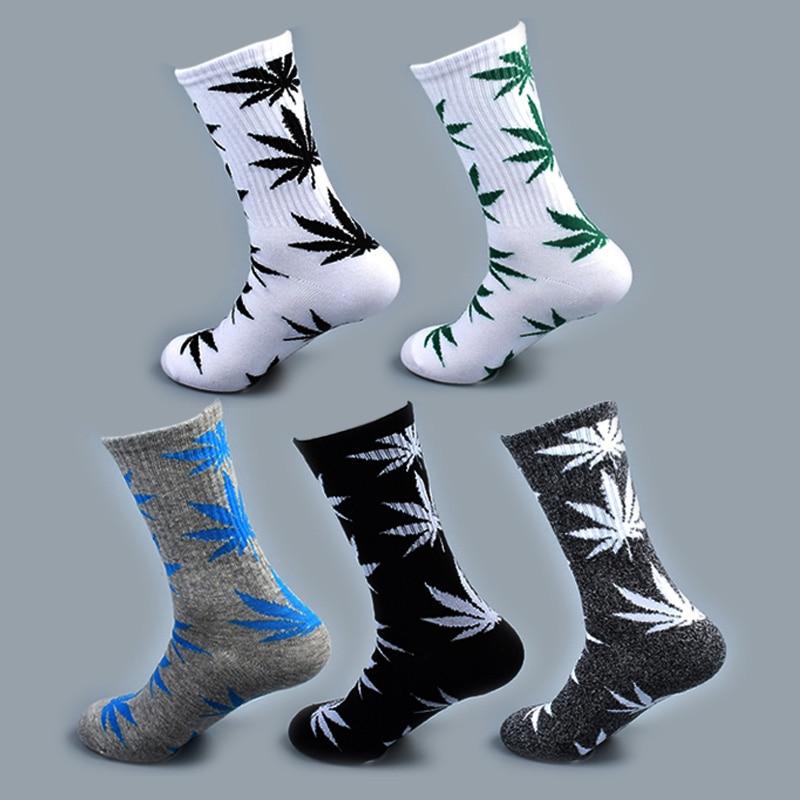 Прохладный бамбук лето для женщин мужчин забавные носки до щиколотки конопли Meias длинные Happy кленовый лист sokken хлопок сорняк трава белый чер...