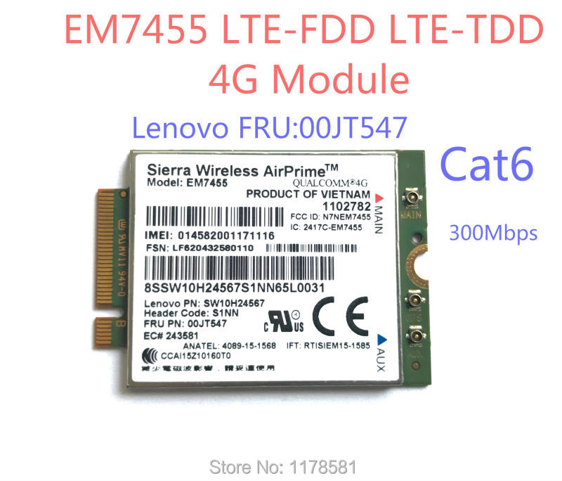 EM7455 FRU00JT547 Sierra Wireless FDD/TDD LTE Cat6 4G MODULE 4G CARD for Lenovo laptop sierra wireless em7345 fru 04x6015 gobi5000 4g lte fdd hspa gprs ngff wwan card for thinkpad ibm t440 w540 t440p x240 l540 w540