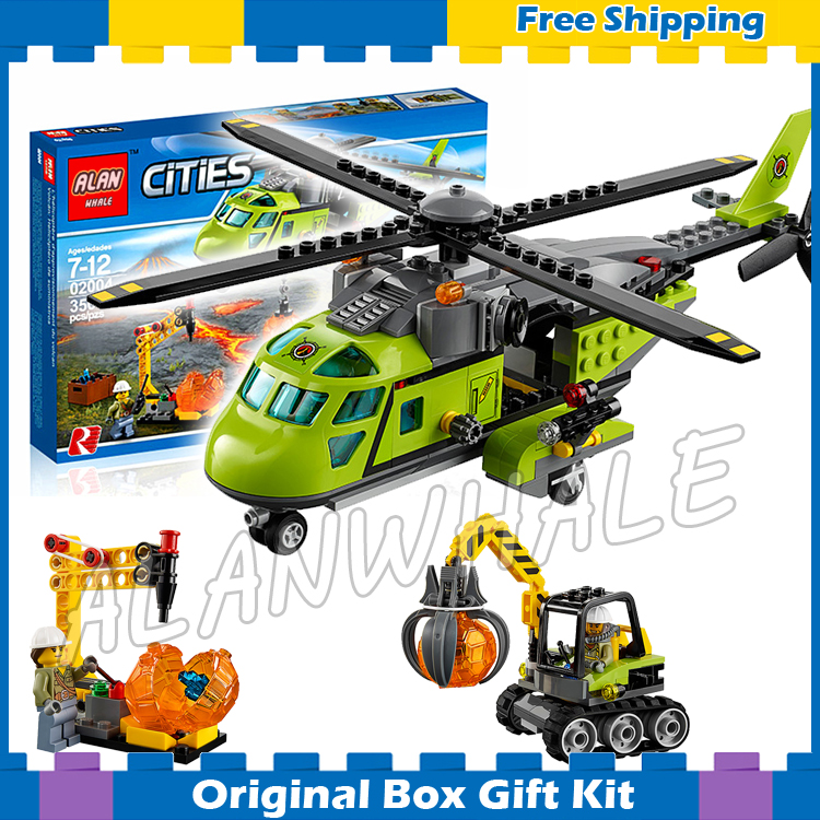 356pcs City Volcano Supply Helicopter 02004 Police Model Building Blocks Assemble Bricks Children Toys Sets Compatible With Lego lepin 02012 city deepwater exploration vessel 60095 building blocks policeman toys children compatible with lego gift kid sets