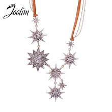 JOOLIM Vintage Stars Leather Chain Collar Necklace Fashion Jewelry
