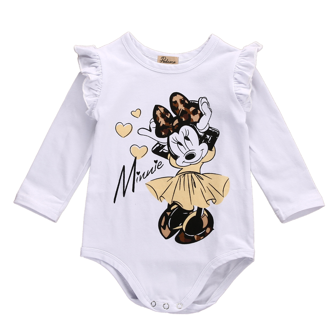 One Piece Cute Lovely Newborn Baby Girl Cotton Minnie Mouse Long Sleeve   Romper   Jumpsuit Outfits Clothes