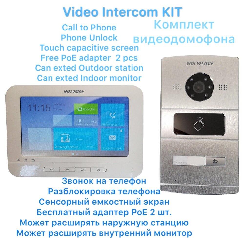 HIKVISION Vidéo interphone KIT DS-KV8102-IM DS-KH6310-WL Comprennent 1 * station de plein air et 1 * moniteur D'intérieur IP Porte téléphone Sonnette