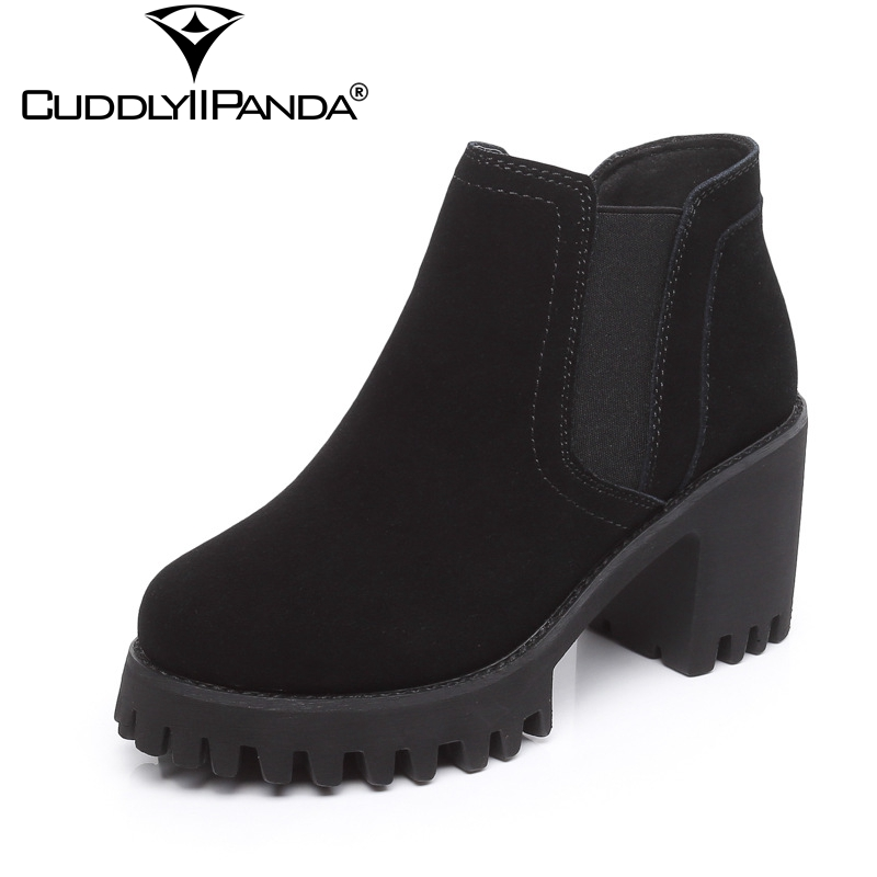CuddlyIIPanda 2018 Autumn Winter Cow Suede Martin Boots High Quality With Fur Women Ankle Boots Block Heel Platform Botas Mujer e toy word bullock ankle boots for women autumn increase lace up martin boots british retro boots winter high help botas mujer