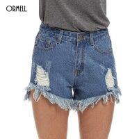 חורי ינס גבוה מותן מכנסיים נשים 2017 ג 'ינס קצר ORMELL Femme חדש קיץ סגנון Ripped סקסי תחתית גודל חם פלוס