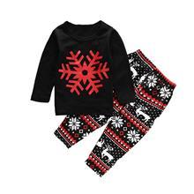 Oklady Christmas Newborn Baby Boy Girl Clothes Snowflake Sweatshirt Deer Print Pants 2Pcs Outfits Set