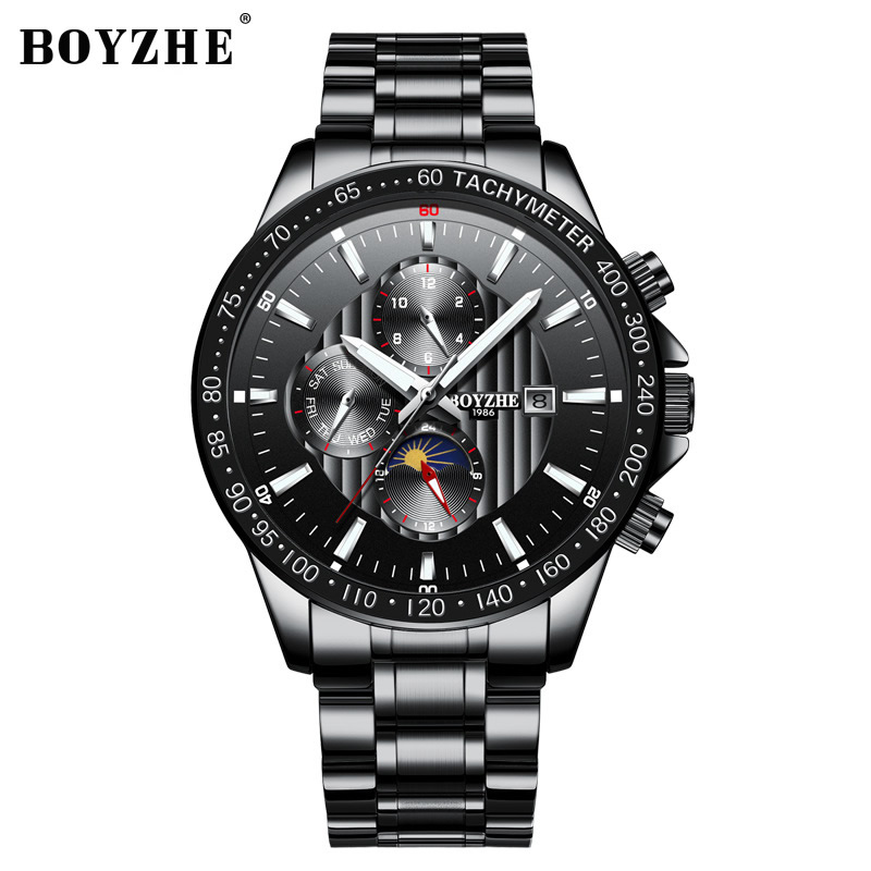 Luxury men brand wristwatches stainless steel mechanical Automatic man watches waterproof Moon Phase calendar week mens watch mens watches mechanical automatic stainless steel waterproof man wristwatches fashion hollow oubaoer brand luxury men s clocks