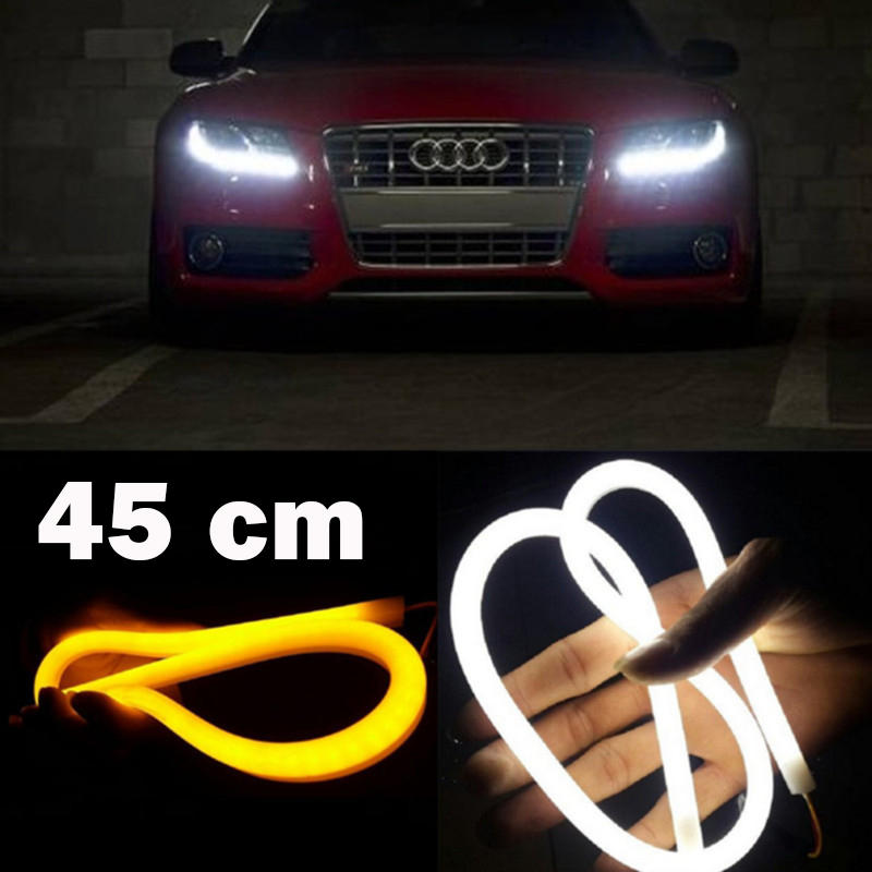 SUNKIA 2 Pcs / Pair Fleksibel 45cm Strip Cahaya Daytime Running Light dengan Turn Signal LED Light DRL Putih Amber Switchback
