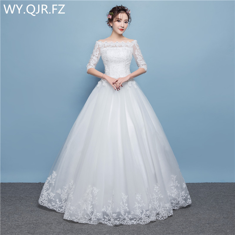 LYG-D20#Off Shoulder Half Sleeve Lace Up Wedding Party Prom Dress 2019 Cheap Wholesale Custom Long Bridesmaid Dresses White Red