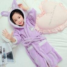 Высокое качество, г., банный халат для детей, одежда для сна с капюшоном и рисунком кролика мягкая фланелевая теплая Пижама Bathgrowns для больших мальчиков от 4 до 14 лет