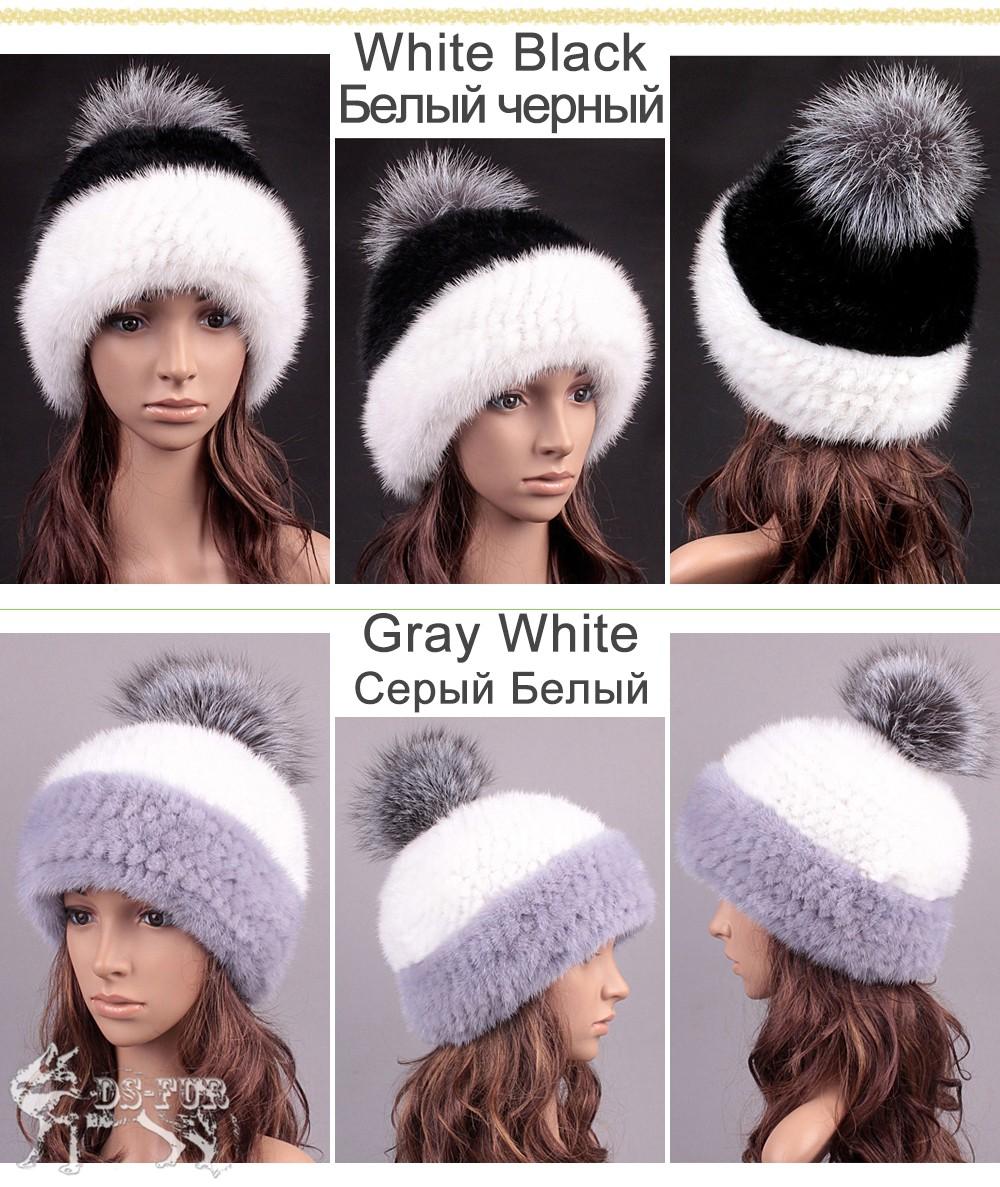 Big silver fox fur pom-poms mink fur hat 01