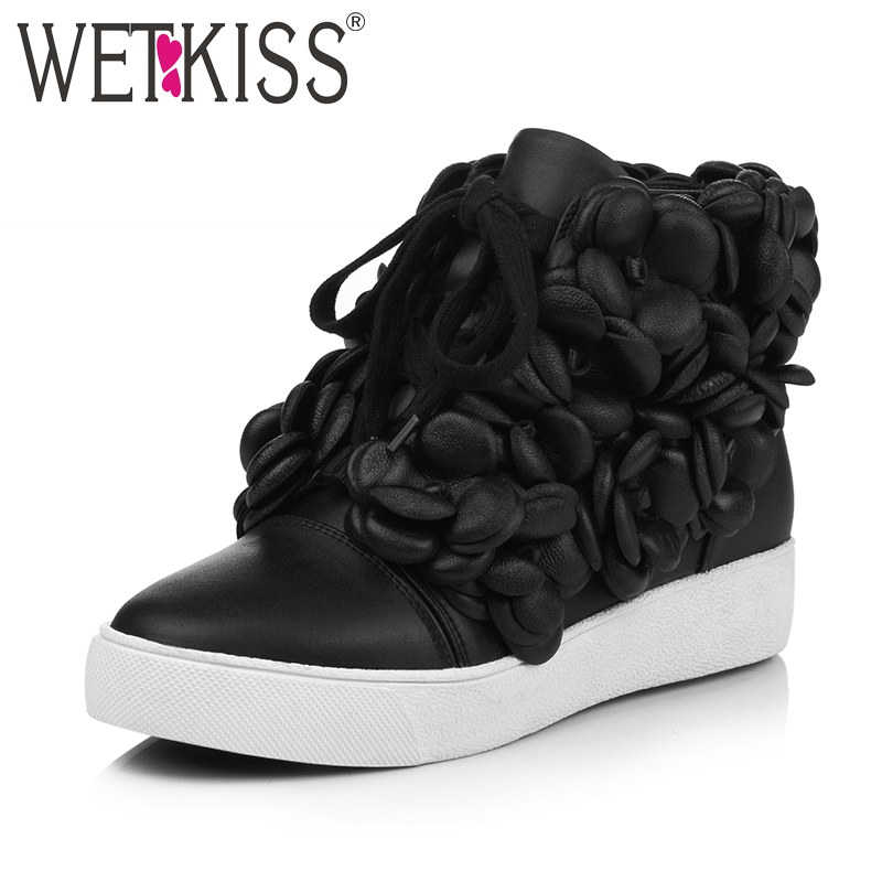 WETKISS New Arrival Hot Sale Ankle Boots Leisure Lace Up Modern Round Toe Height Increasing Boots Genuine Leather Women Shoes