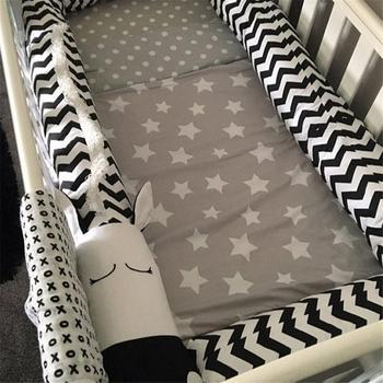 Детская кровать бамперы черный и белый зебра детская кроватка кровать ограждение бампер Защитная Подушка Анти-Крушение Бар для новорожден...