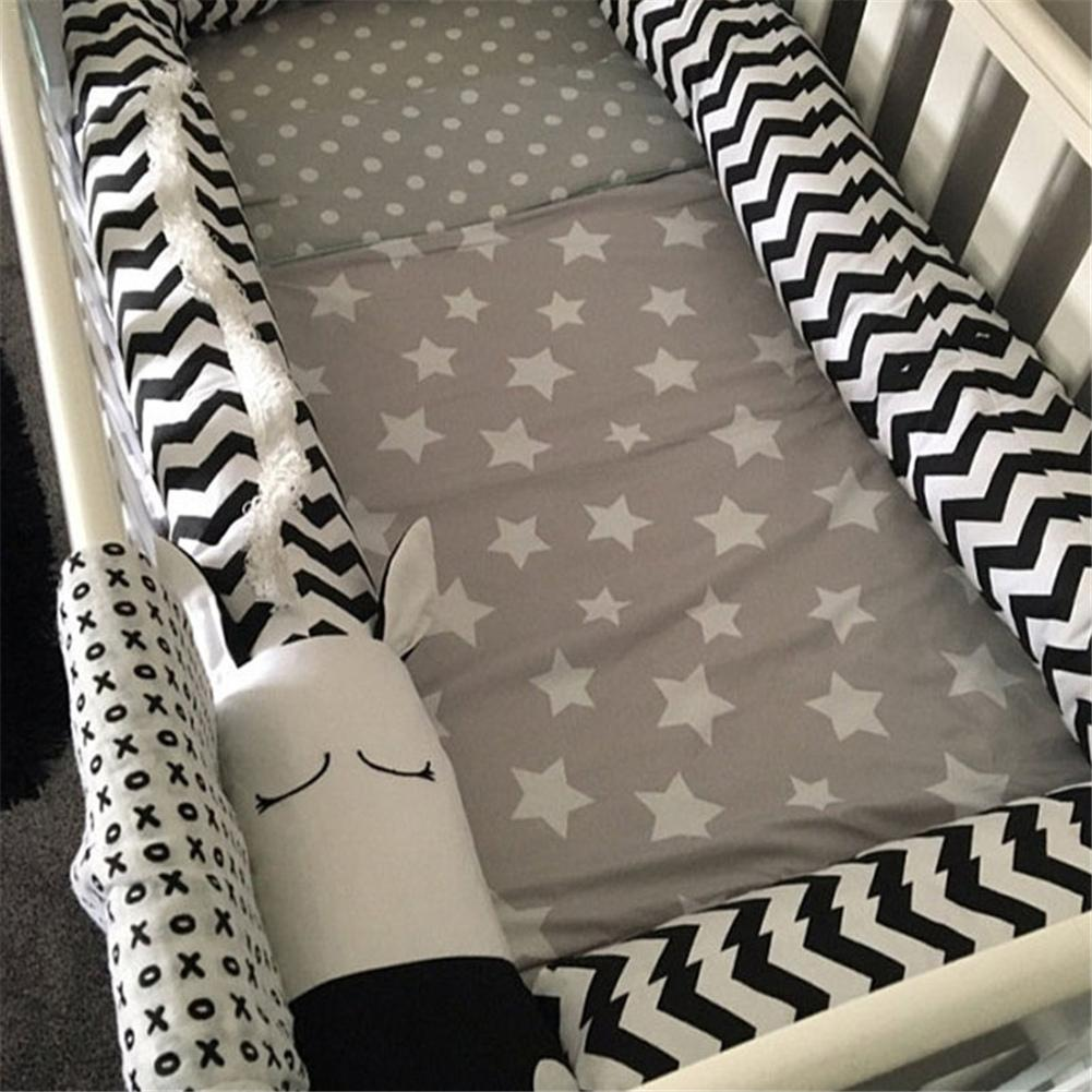 Baby Bed Bumpers Black And White Zebra Childrens Crib Bed Guardrail Bumper Protector Pillow Anti-Crash Bar For Newborn Sleeping ...