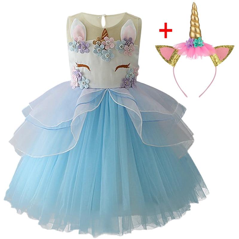 HTB1SpAYXIvrK1Rjy0Feq6ATmVXaQ Unicorn Dresses For Elsa Costume Carnival Christmas Kids Dresses For Girls Birthday Princess Dress Children Party Dress fantasia