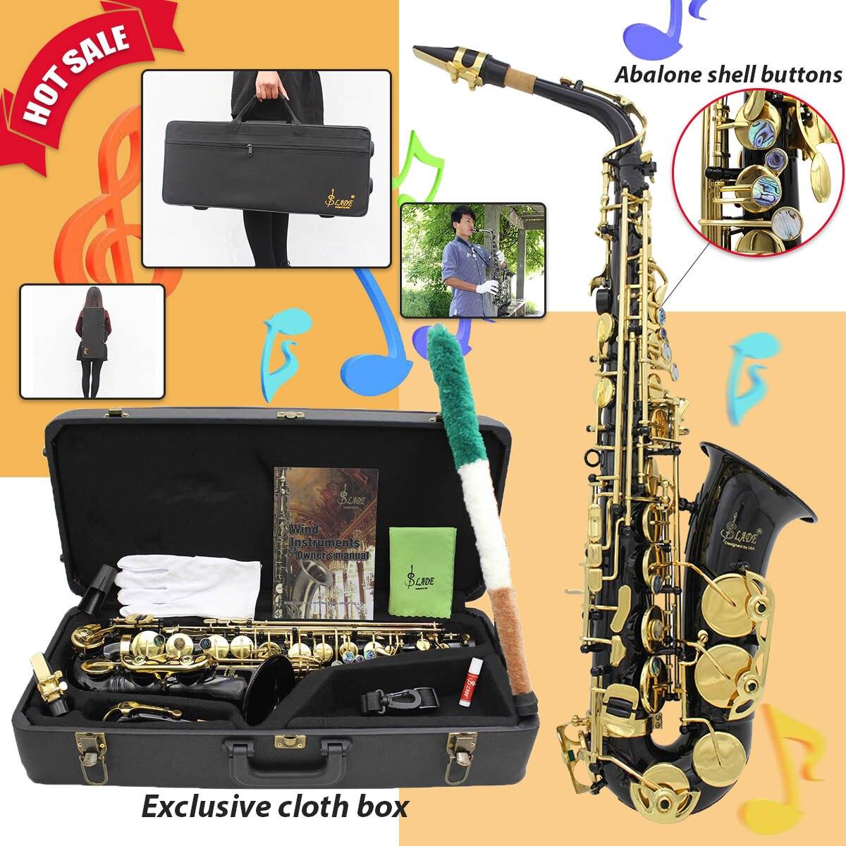 Laiton Gravé Eb E-Plat Alto Saxophone Sax Abalone boutons nacrés Avec Gants De Cas chiffon de nettoyage Ceinture Brosse