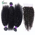 Malaysian Curly Hair With Closure,4Pcs 7A Malaysian Kinky Curly Hair With 1Pc Curly Lace Closure Free Shipping