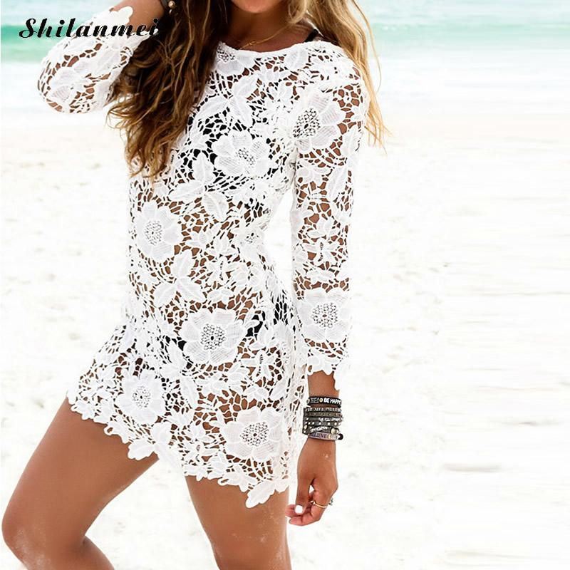 Beach cover up dress women sexy summer swimming bathing beach suits white hollow lace short dress 2018 new arrival female lady