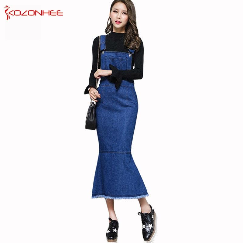 Délka letní kapesní denim mořská panna šaty dámské módní Maxi trubka džínové dámské šaty plus velikosti ženy oblečení