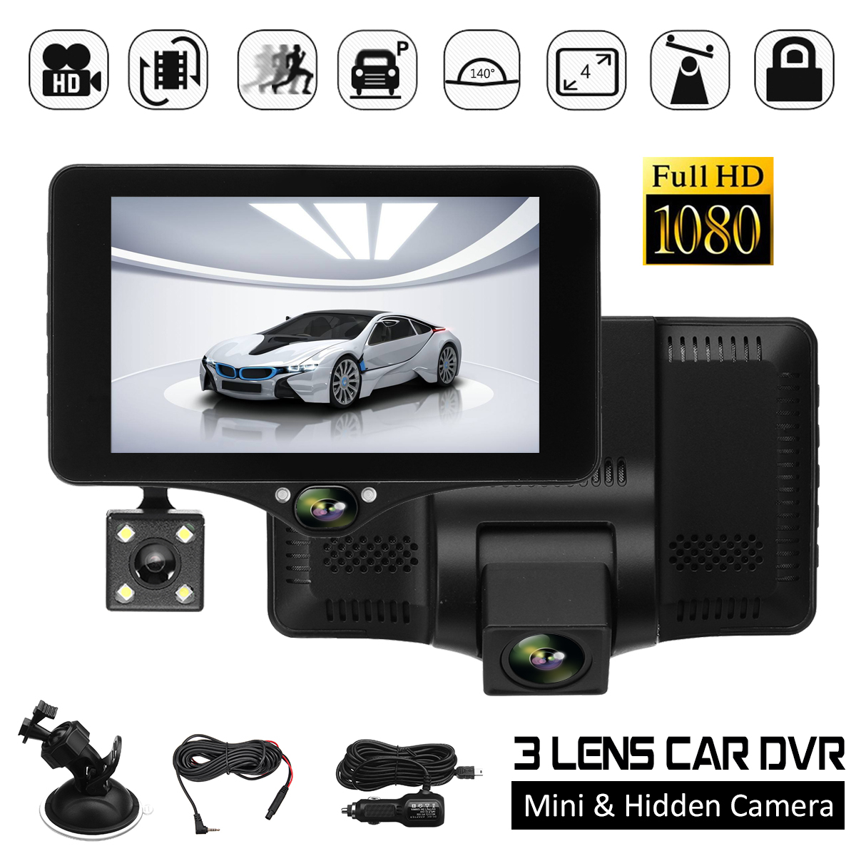 4 inch 3 Lens Full HD 1080P Car DVR G-sensor Video Recorder Dashcam Camcorder Registrator Rearview Camera Night Vision
