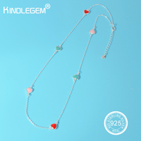 Kindlegem Brand Pure 925 Sterling Silver Necklace For Women Lovely Heart Jewelry Charms Silver Beads Choker