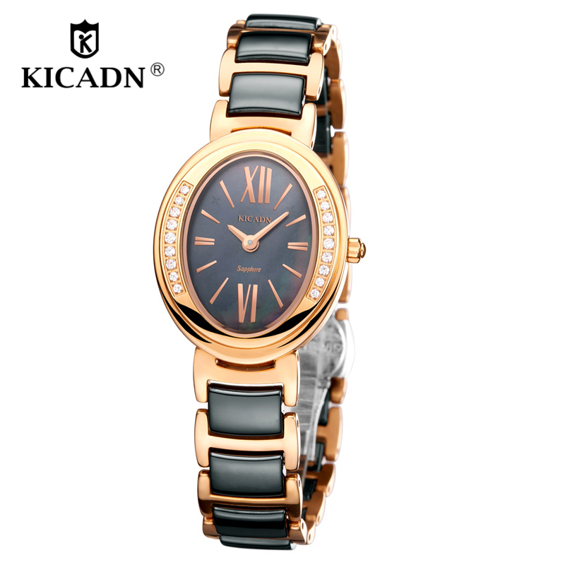 Fashion Ladies Quartz Watch reloj mujer Women Luxury Gold Watches Wristwatch KICADN Elegant Ceramic Watch Clock relogio feminino reloj mujer 2017 watch top brand luxury ladies watches womens quartz wrist watch waterproof clock women hours relogio feminino
