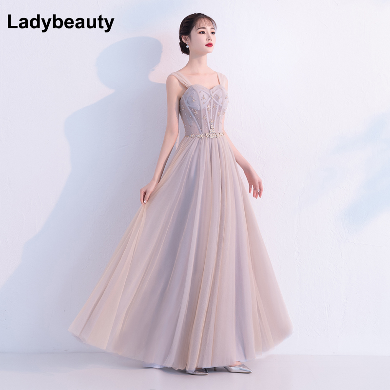 2018 New Evening Dress Sexy Sweetheart Backless Beading Tulle Long Prom Gown Custom Party Formal Dresses